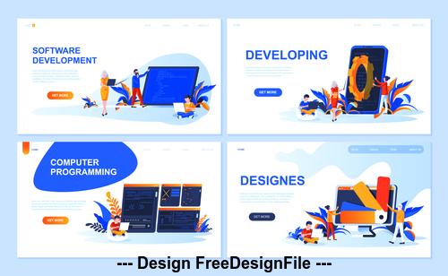 Software development flat banner concept illustration