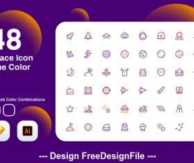 Space icon line color vector