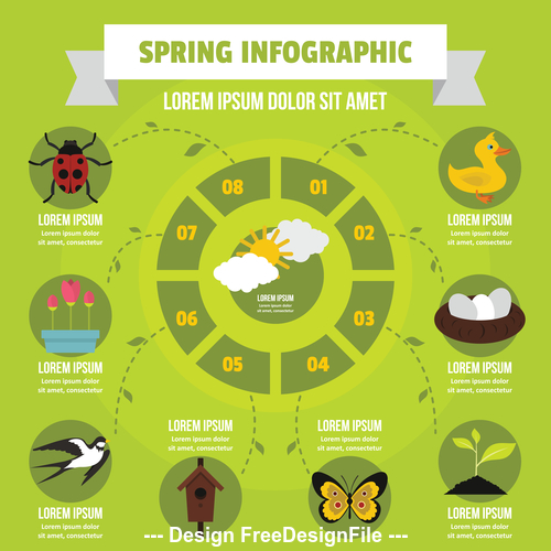 Spring infographic vector flat style