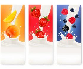 Strawberry and raspberry splash in milk vector