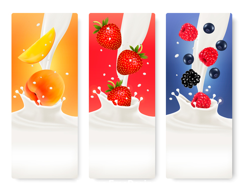 Strawberry and raspberry splash in milk vector