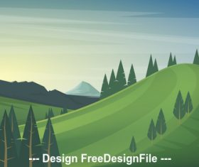 Summer landscape vector illustration