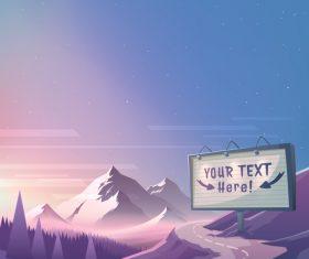 Sunrise mountain landscape vector illustration