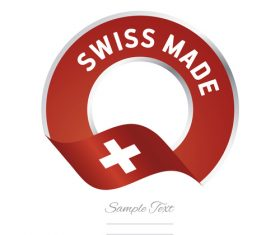 Swiss made flag red color label button banner vector
