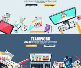 Teamwork banner vector