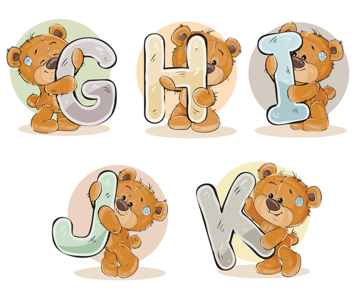 Teddy bear and english alphabet cartoon vector