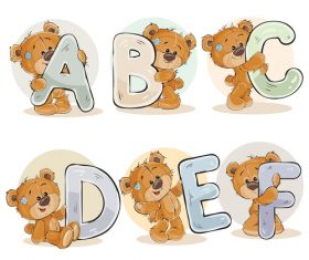 Teddy bear and letters cartoon vector