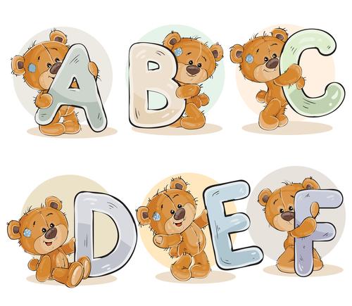 Teddy bear and letters cartoon vector