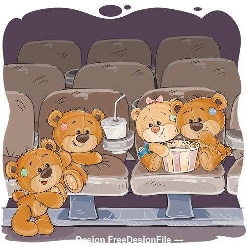 Teddy bear party cartoon vector