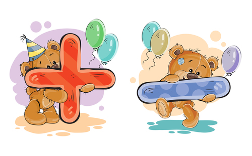 Teddy bear with plus and minus cartoon vector