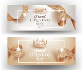 Textured curly ribbons and gold crowns card vector