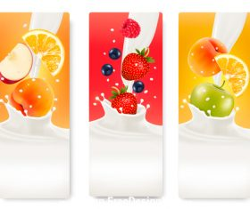 Three banners with colorful fruits and coconut splash in milk vector