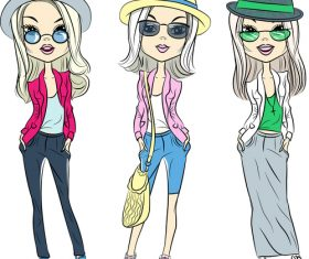Three girls wearing sunglasses vector