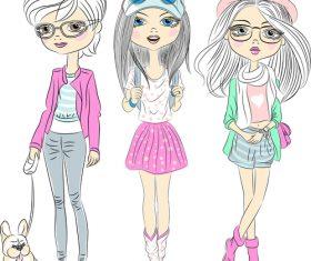 Three youth beautiful girls vector