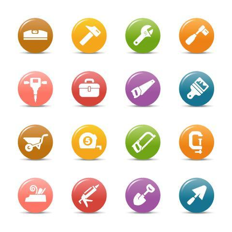 Tools glossy buttons Icon vector