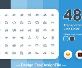 Transportation icon line color vector
