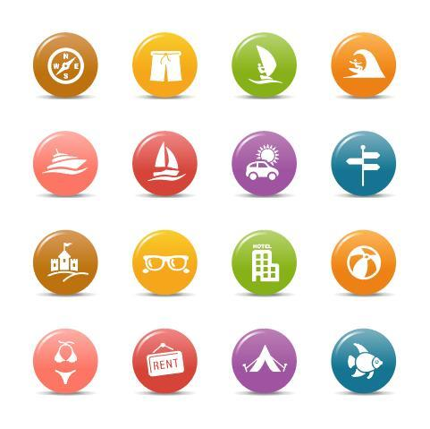 Travel gloss buttons Icon vector