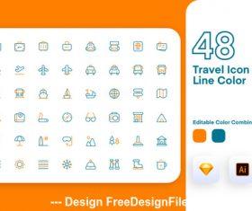 Travel icon line color vector