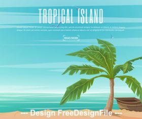 Tropical palm tree and boat vector