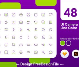 Ui camera icon line color vector