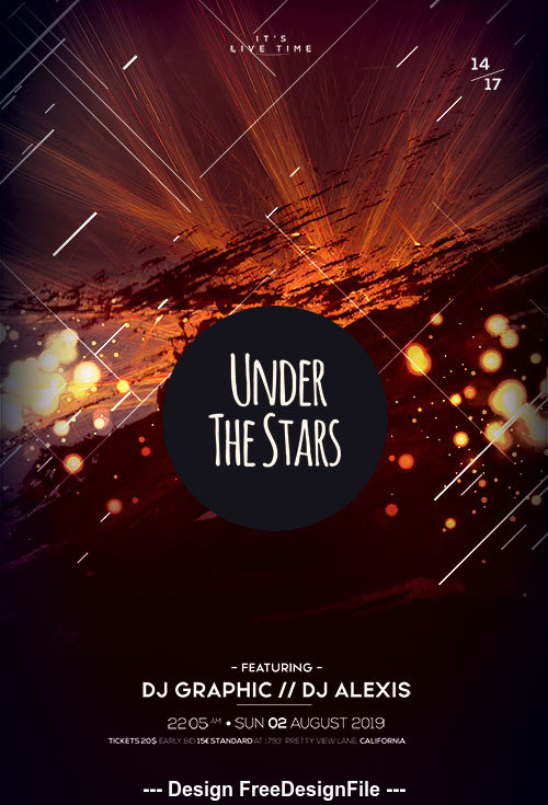Under The Stars Flyer Design PSD Template