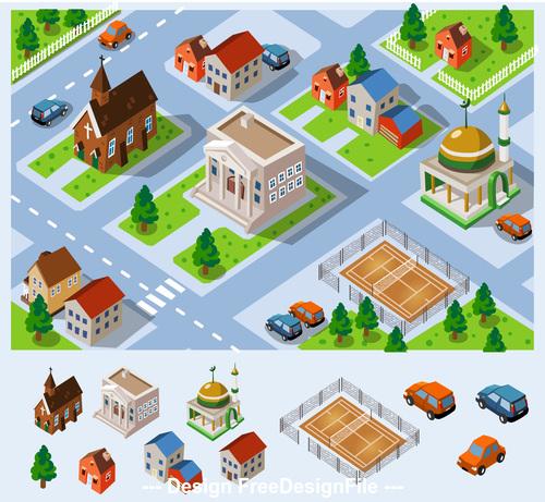 Urban house cartoon vector