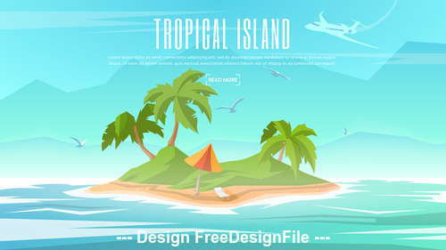 Vector banner on the theme of Paradise Island with Tropical Palm