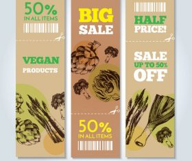 Vegetable background sale label vector