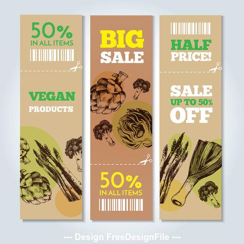 Vegetable background sale label vector