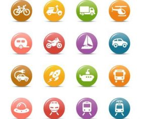 Vehicles glossy buttons Icon vector