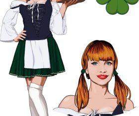 Waitress illustration vector