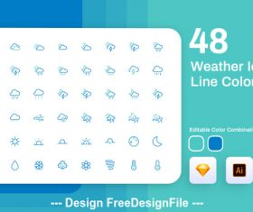 Weather icon line color vector