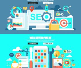 Web development concept flat banner vector
