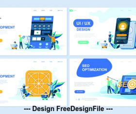 Web development flat banner concept illustration