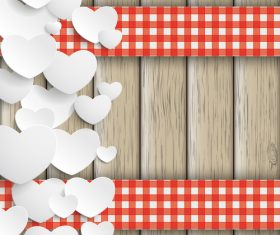 White Hearts Double Cloth Valentinesday Wood vector