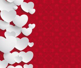 White Hearts Side Ornaments vector