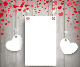 White Paper Frame 2 Hearts Wood vector
