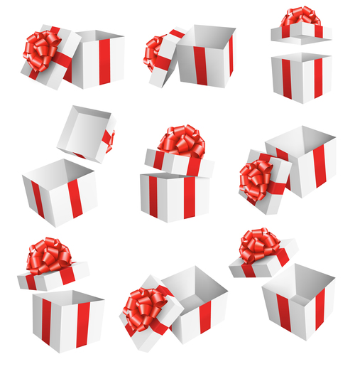 White box with red ribbon vector