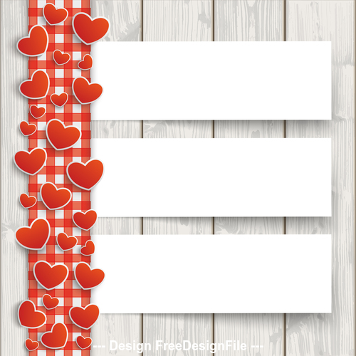 Wood Red Checked Tablecloth Hearts 3 Banners vector
