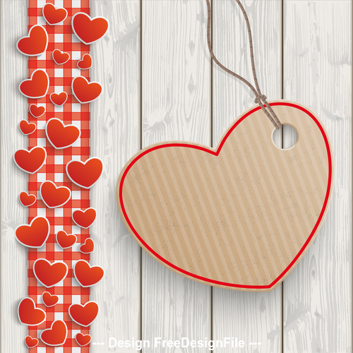 Wood Red Checked Tablecloth Hearts Carton Heart vector