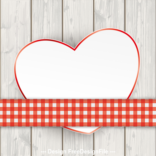 Wooden Planks Checked Tablecloth Convert Heart vector