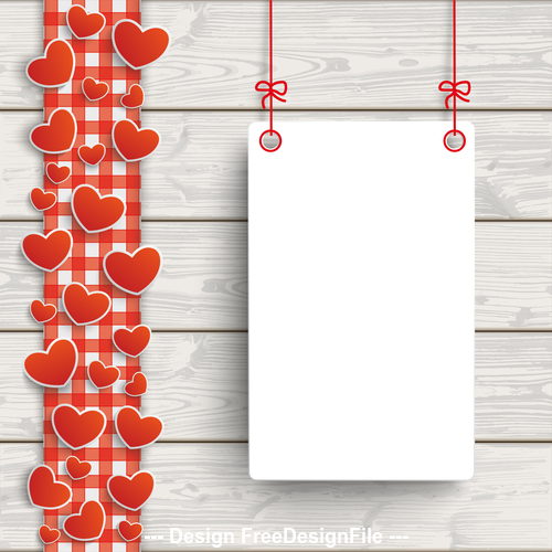 Wooden Planks Red Checked Tablecloth Hearts Board vector