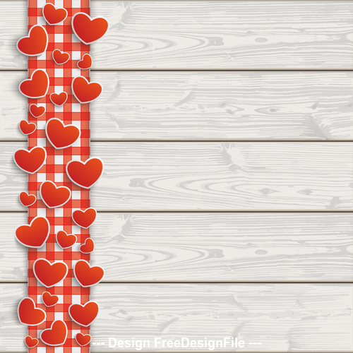 Wooden Planks Red Checked Tablecloth Hearts vector