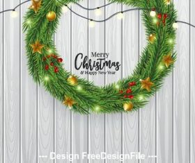 Wooden background christmas wreath decoration vector