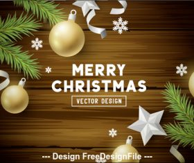 Wooden background decorative card merry christmas vector