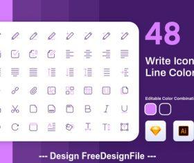 Write icon line color vector