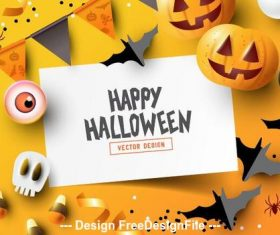Yellow background decoration illustration happy halloween vector