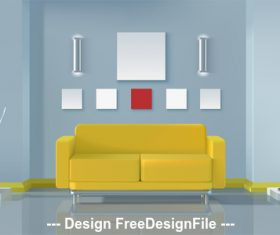 Yellow sofa living room vector