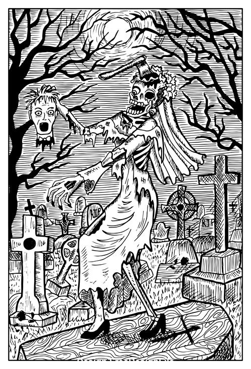 Zombie Bride engraved fantasy illustration vector