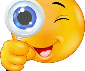 Zoom in on the eyes cartoon emoticon vector